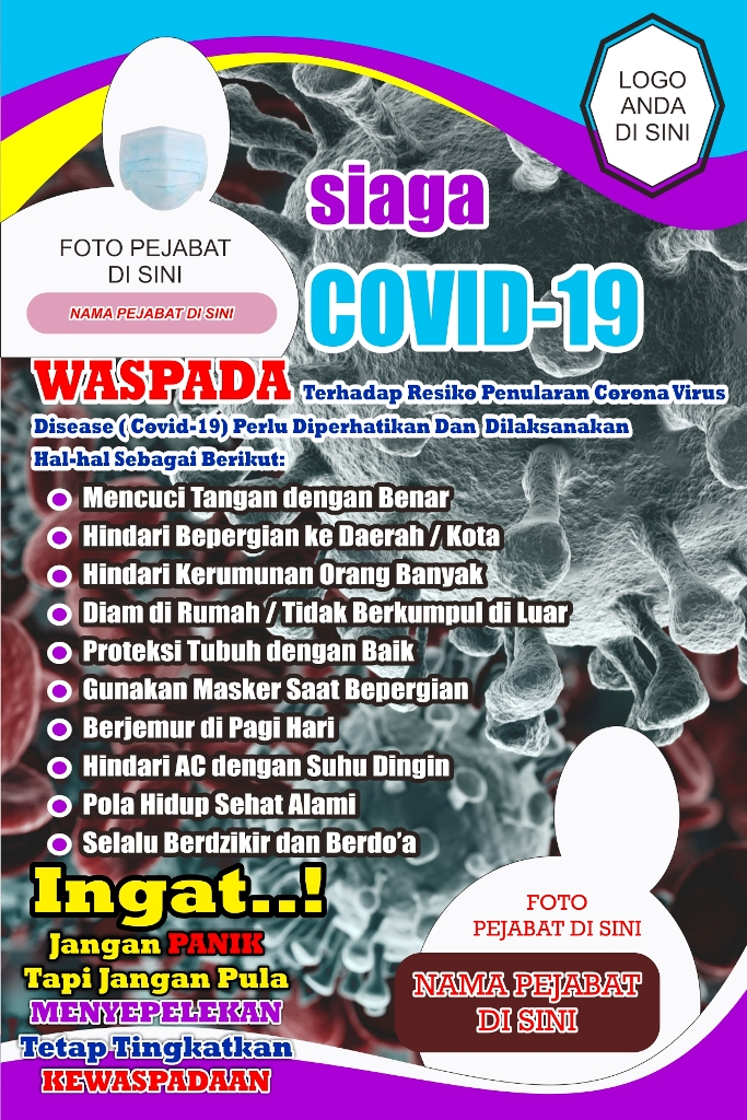 Banner Spanduk Covid-19 Corona Virus untuk Kampanye Pencegahan