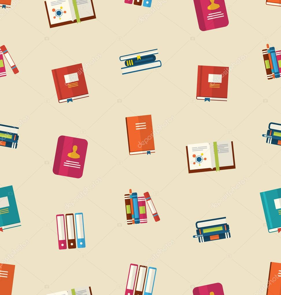 Seamless Pattern of Colorful TextBooks