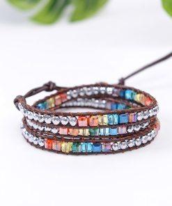 Bracelet  Bohème Chic en pierres de cristal multi couleurs