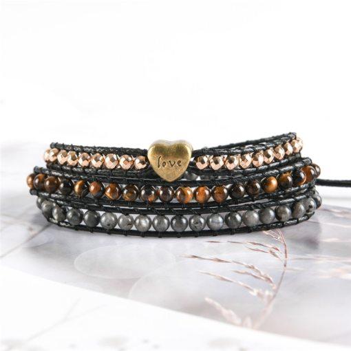 Bracelet Amour Bohème Chic oeil de tigre et spectrolite