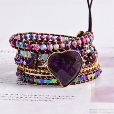 Bracelet Amour Bohème Chic coeur en Améthyste