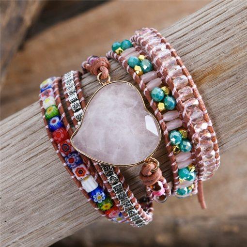 Bracelet Amour Douceur Bohème Chic coeur en quartz rose