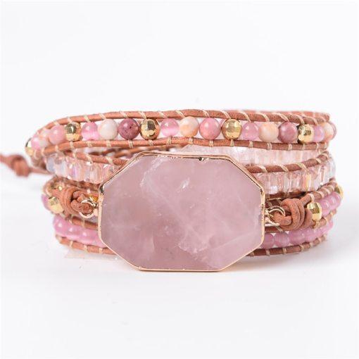 Bracelet Bohème chic 5 envoloppes, en quartz rose et pierres naturelles
