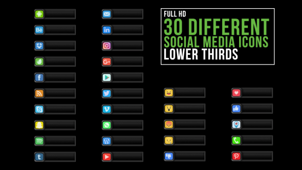 Social Media Icons Lower Third