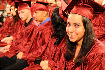 Students participating in graduation