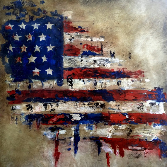 America Original Abstract Flag Painting American