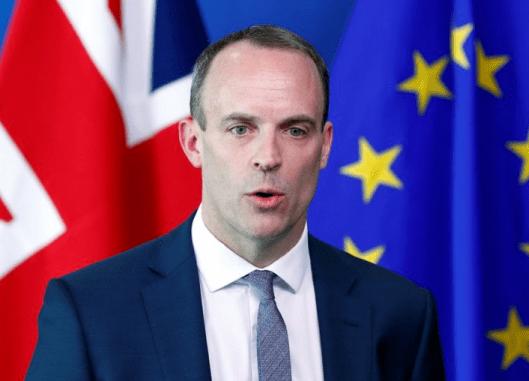 UK Foreign minister Dominic Raab spoke on bbbBrexit fta eu
