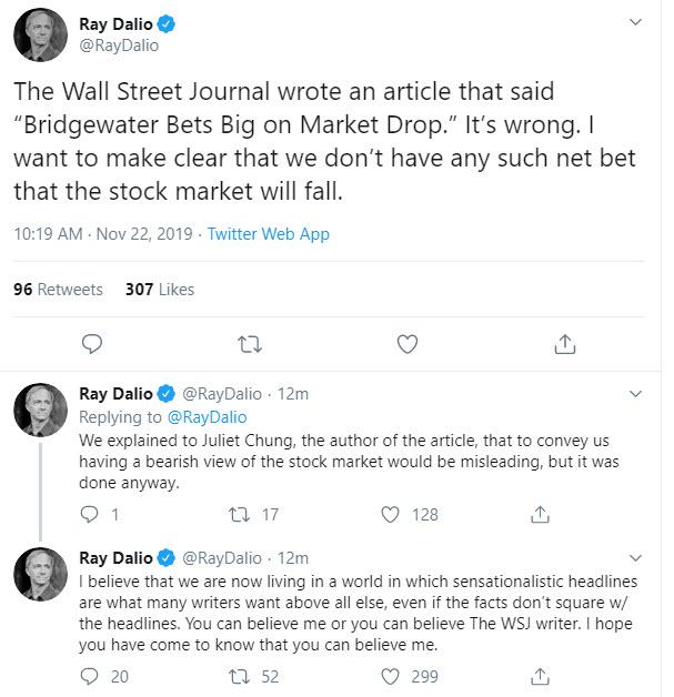 Ray Dalio fromBridgewaterAssociates responsed to WSJ article