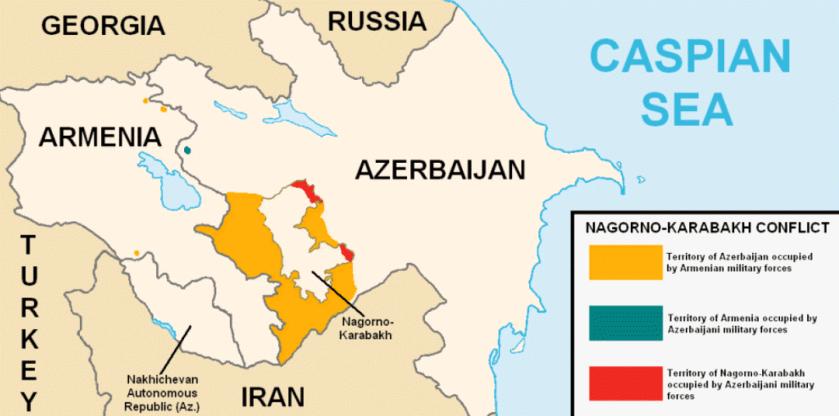 map of armenia-azerbaijan