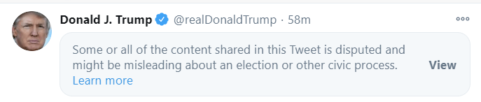 Twitter has blocked a tweet from Trump, this is the tweet now: