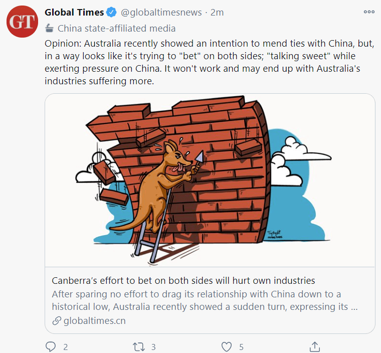 Chinese Global Times with further threats against Australia.