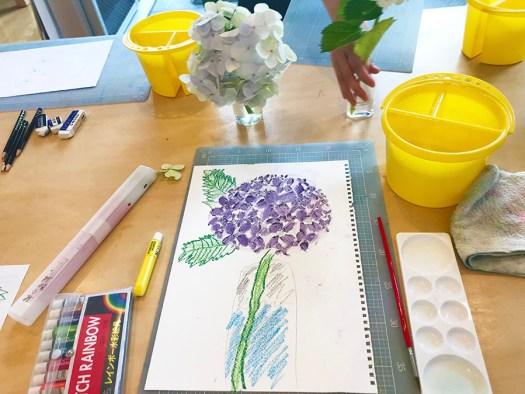 今月のテーマ 紫陽花 麻布アトリエ 子供絵画教室