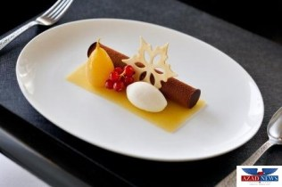 Armani Deli - New Year - Monte bianco chocolate mousse candied chestnut william pear gold 23 carart meringue