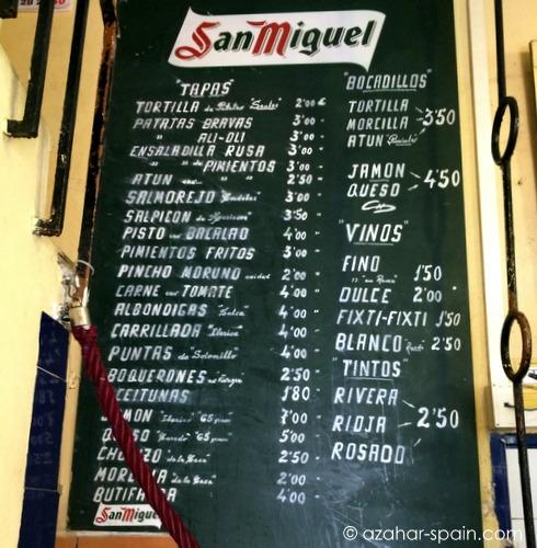 bar santos menu