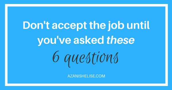 Graphic - Questions to ask before you accept a job offer