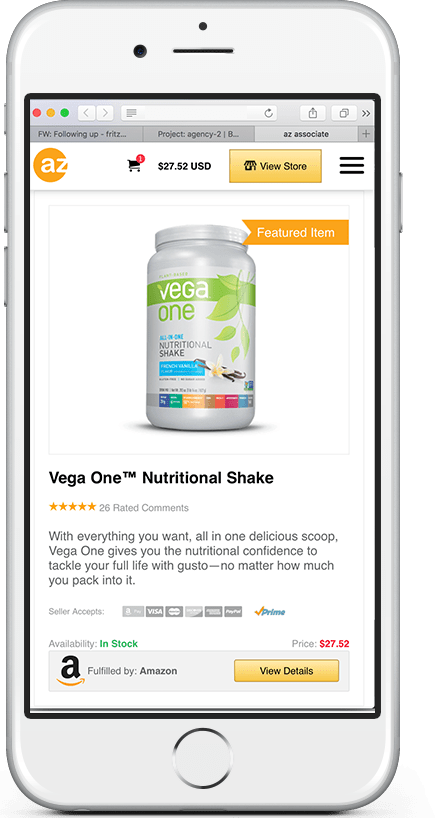 Amazon WordPress Theme: Mobile Screenshot with Vega One