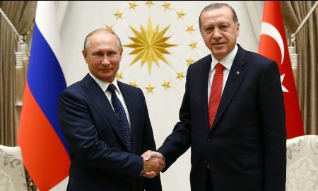Turkish President Erdogan meets with Russia's President Putin at the Presidential Palace in Ankara