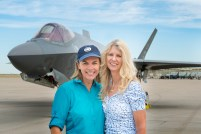 Photographer Karen Shell and Art Director Karen Holub in front of the F-35A Lightning II, July 9, 2015.