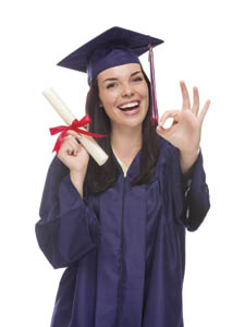 Happy Graduating Mixed Race Female Wearing Cap and Gown with Her Diploma Gives Ok Gesture Isolated on a White Background.
