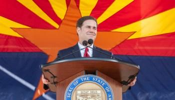Arizona Gov. Doug Ducey gives his inauguration speech Jan. 5, 2015. (Photo by Evan Wyloge/AZCIR)