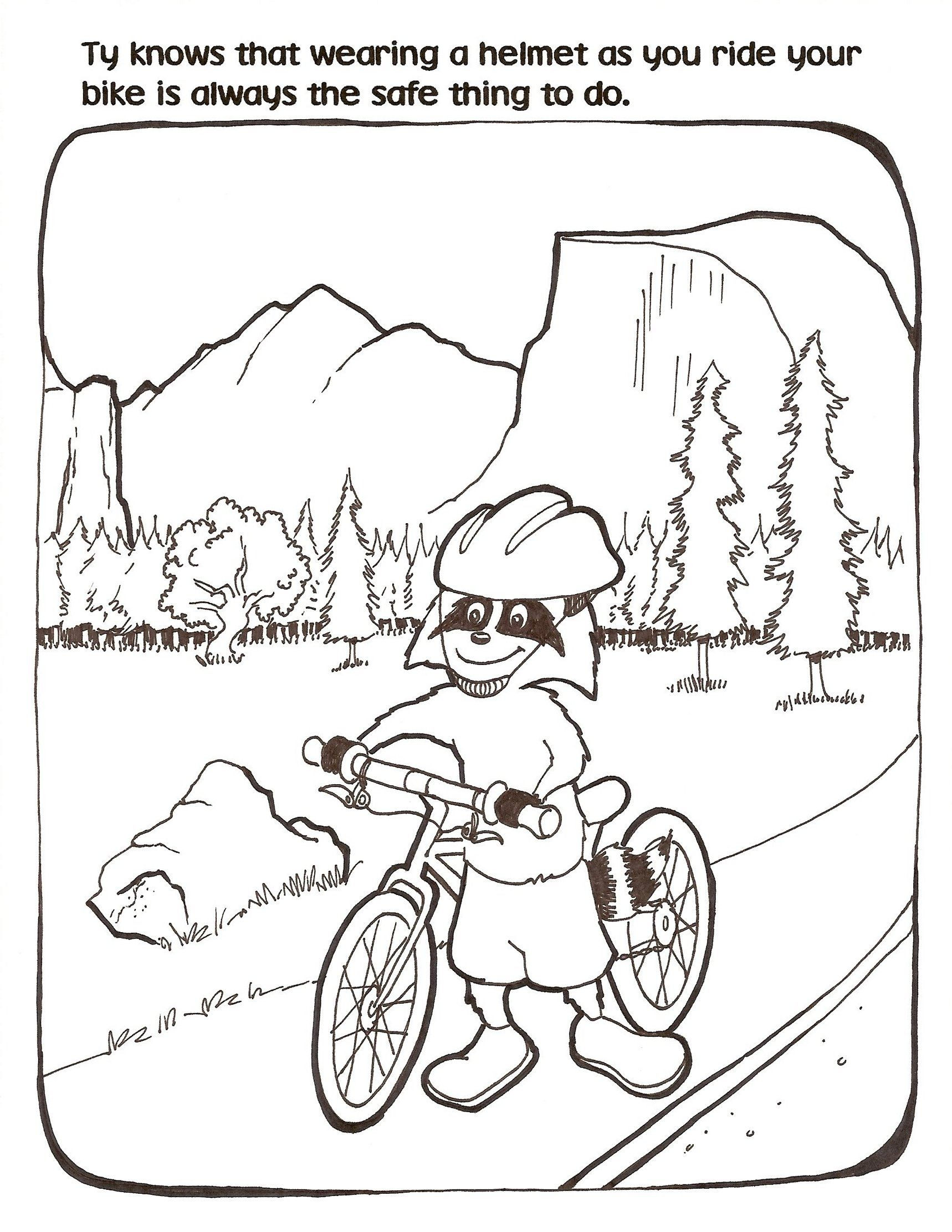 Bicycle Safety Coloring Page