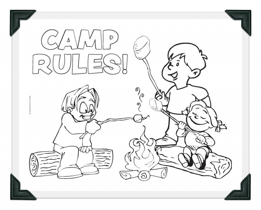 Minnie Mouse Camping Coloring Page