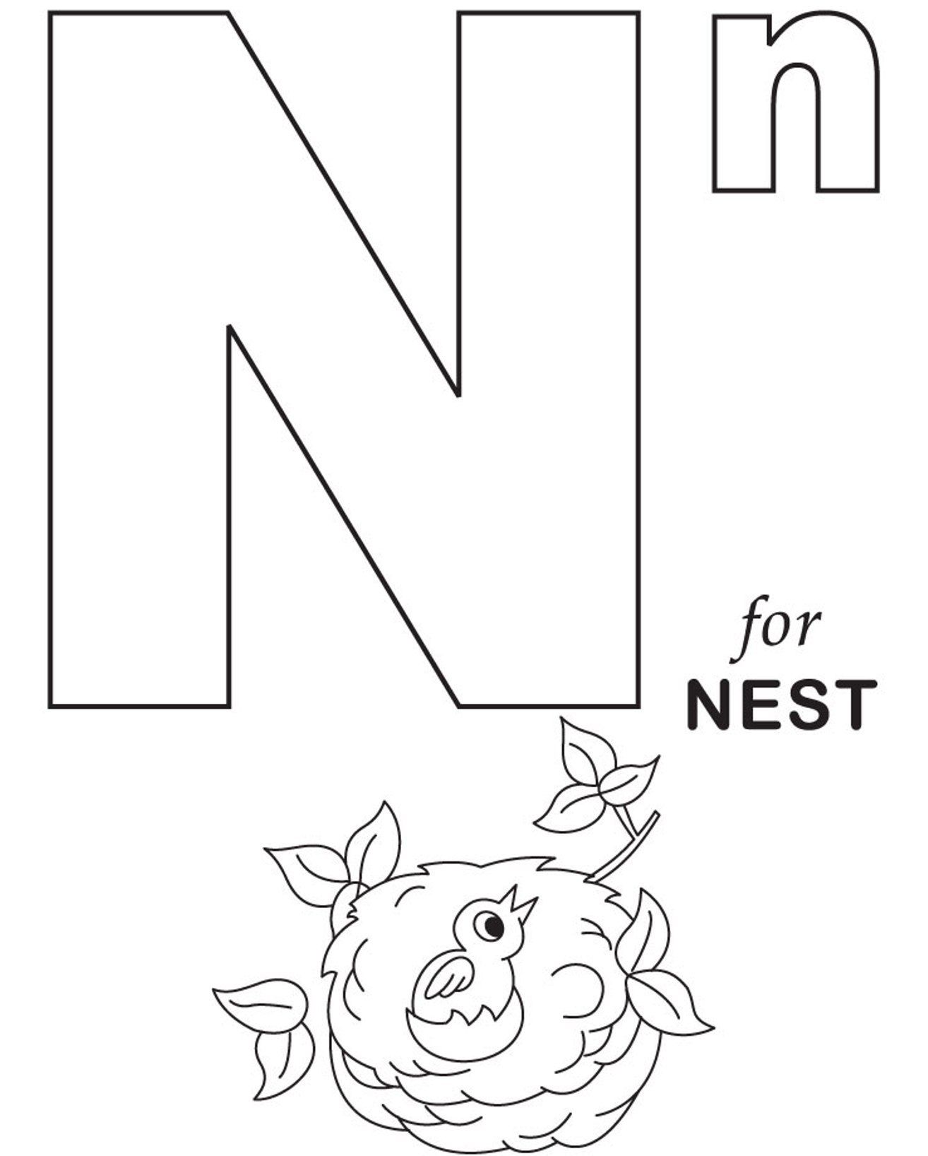 Letter N Preschool Coloring Pages