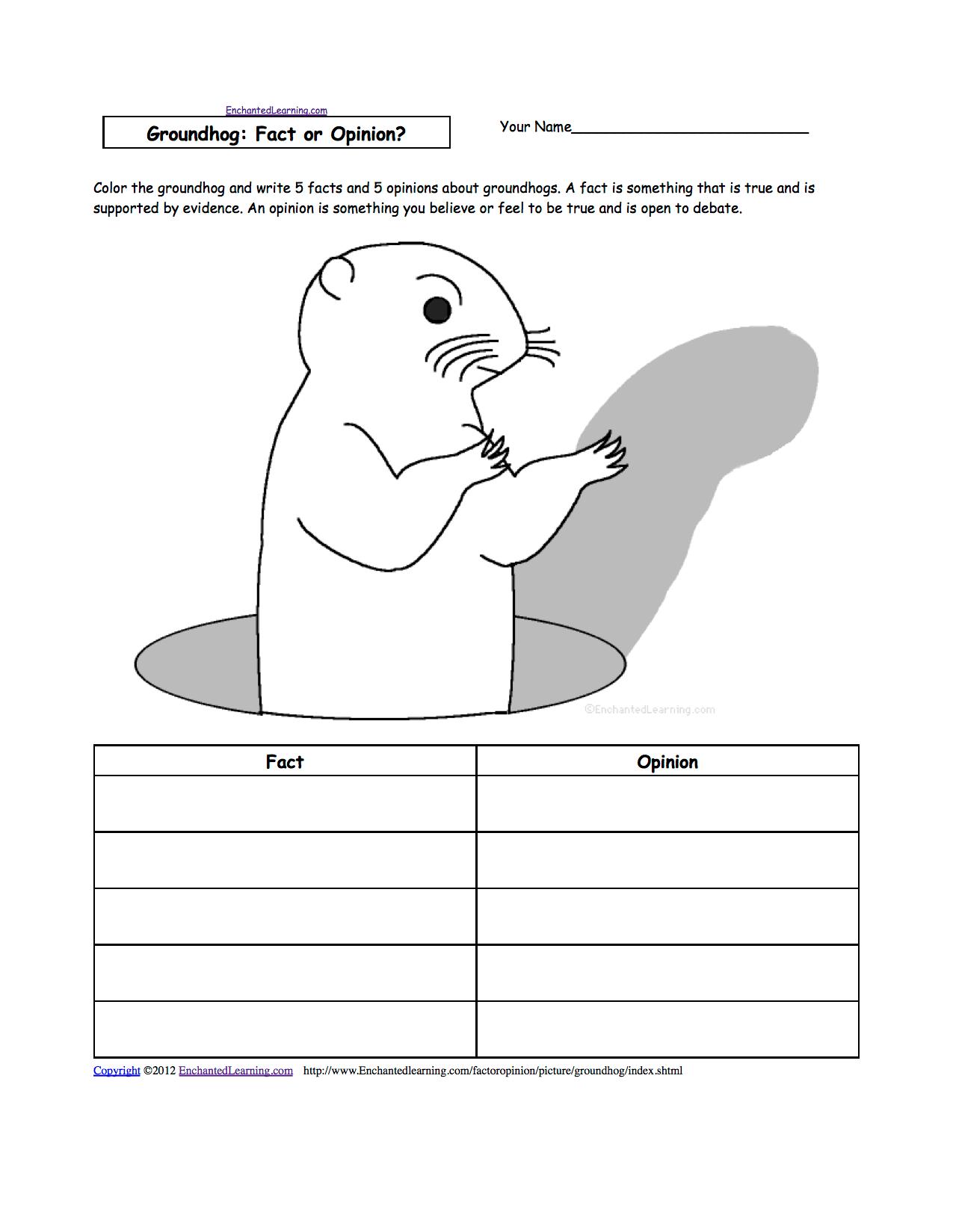 Printable Coloring Pages Of Groundhogs