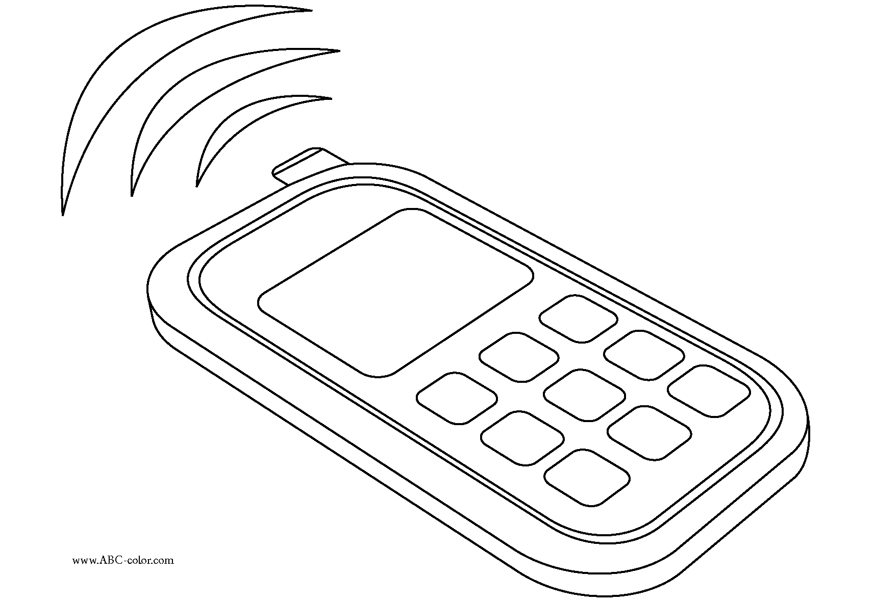 Cell Phone Coloring Page