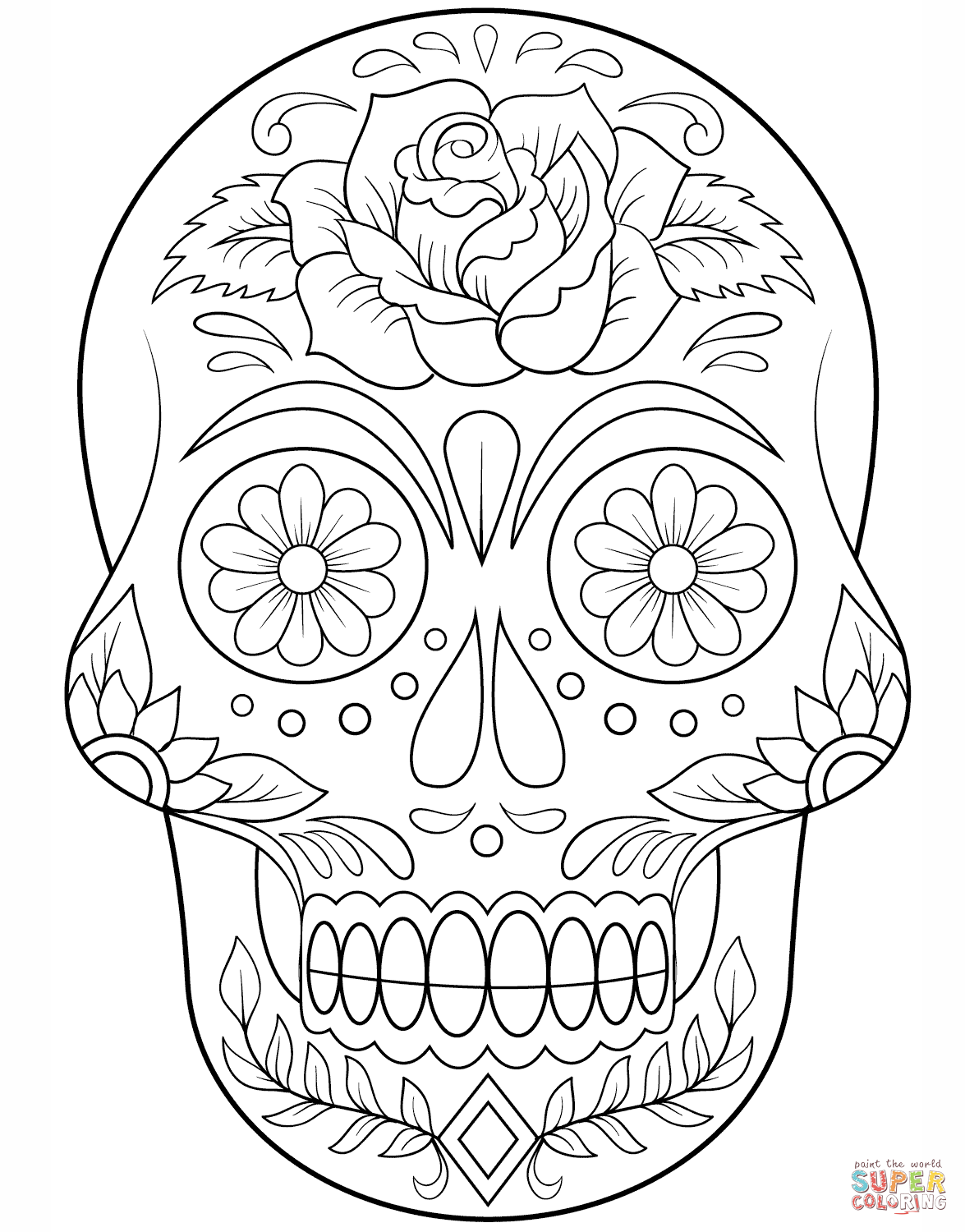 Sugar Skull With Roses Coloring Pages