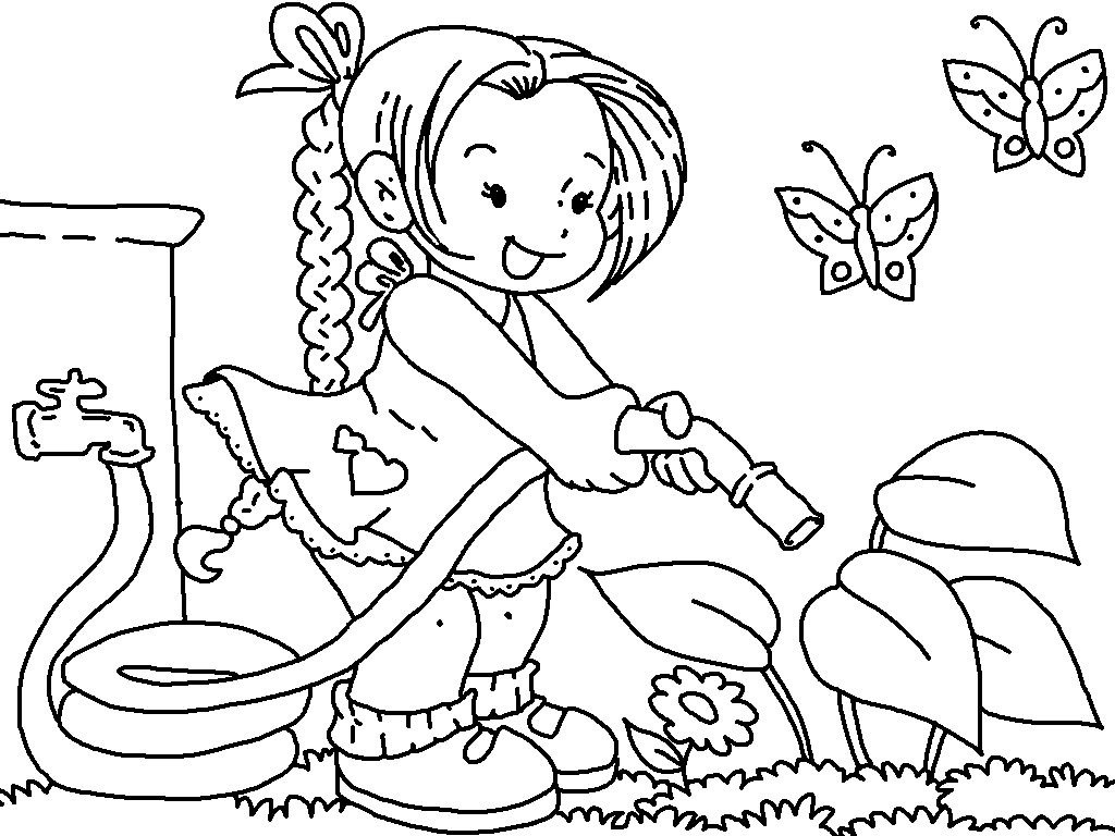 Kids Gardening Coloring Pages