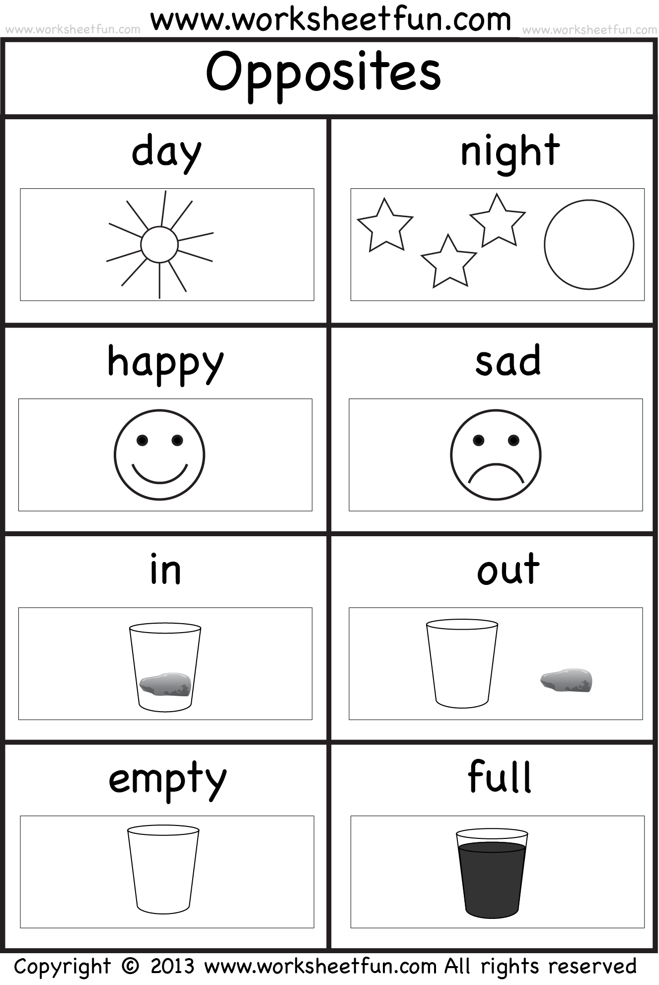 Opposites Coloring Pages