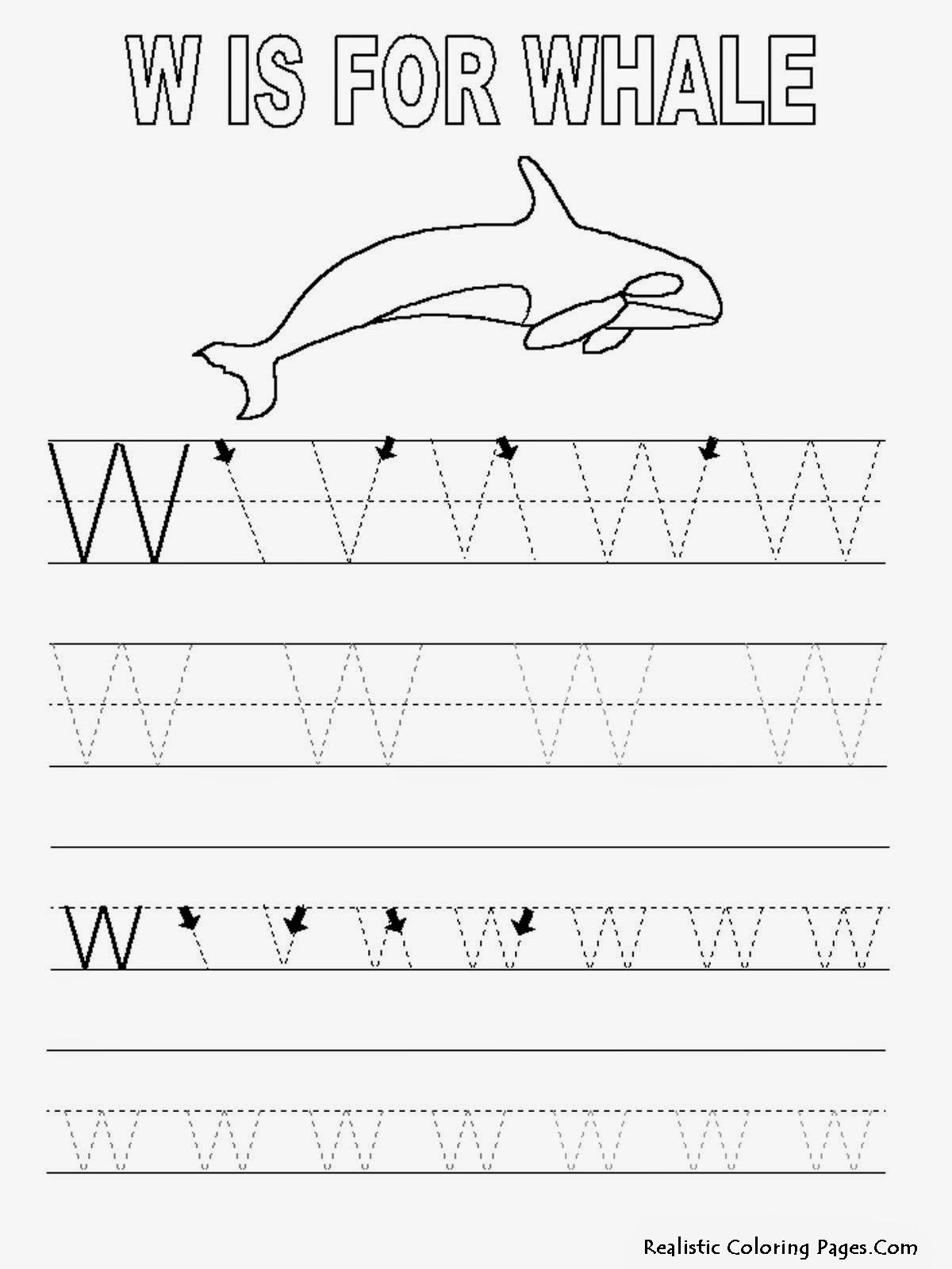 W Is For Whale Coloring Page