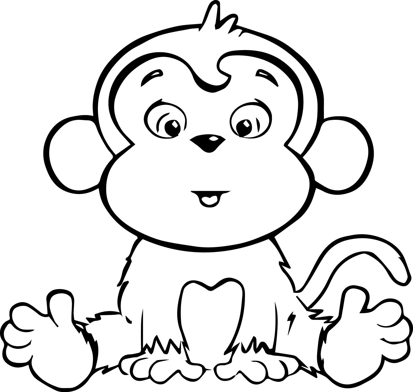Monkey Coloring Book Page