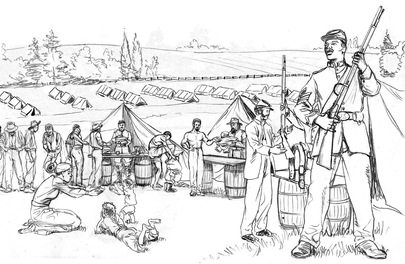 Revolutionary War Battle Coloring Pages Sketch Coloring Page