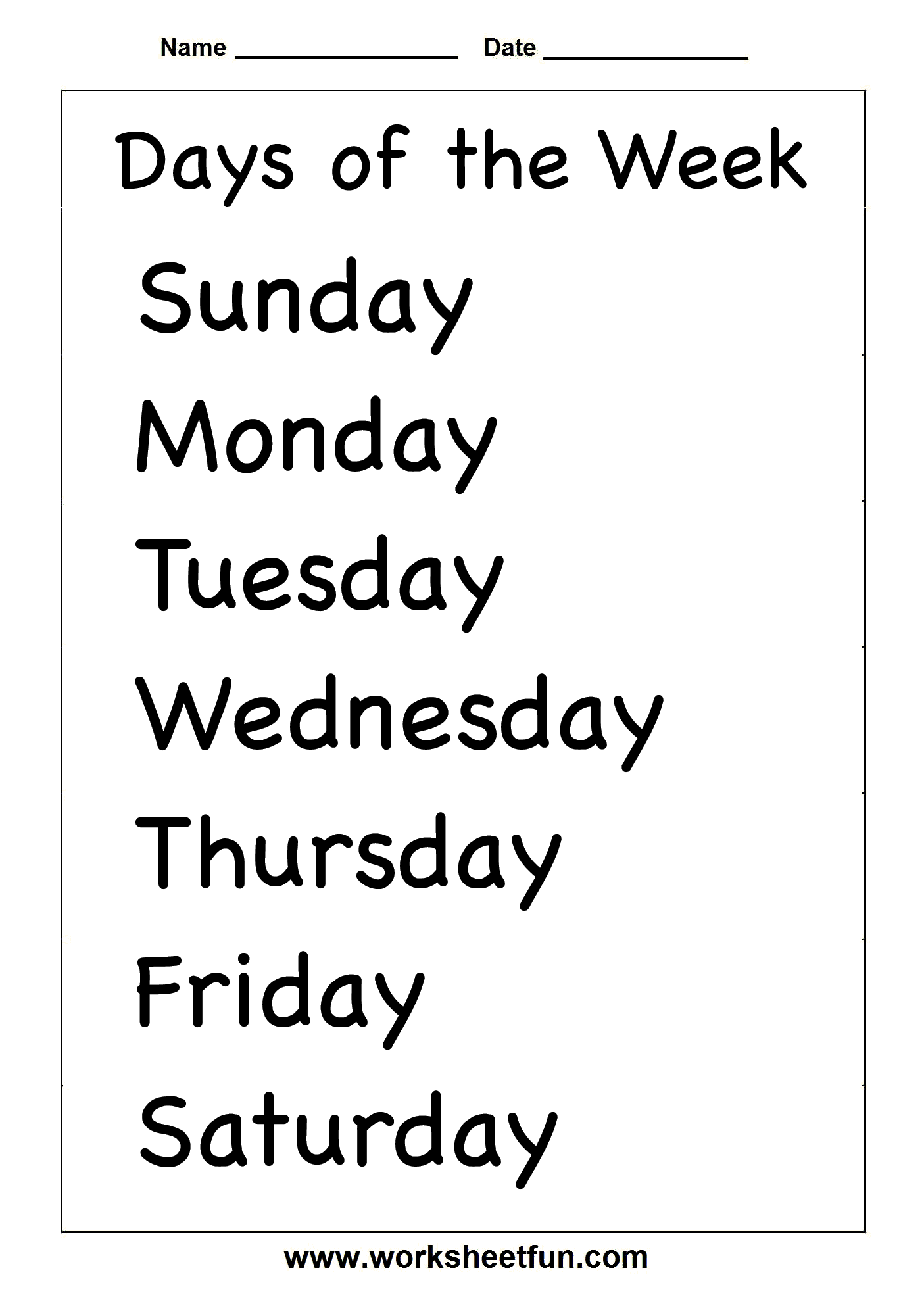 Days Of The Week Printable Coloring Pages