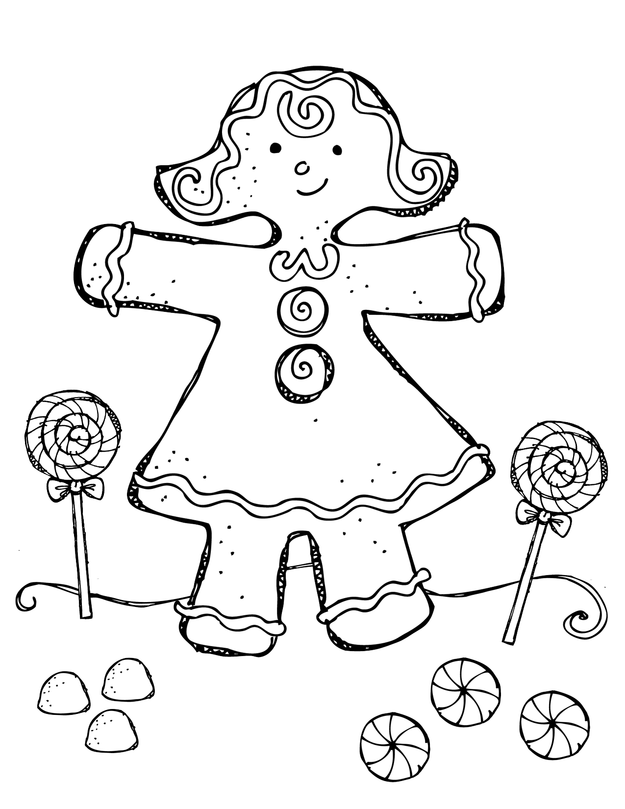 Christmas Gingerbread Boy Coloring Pages Sketch Coloring Page