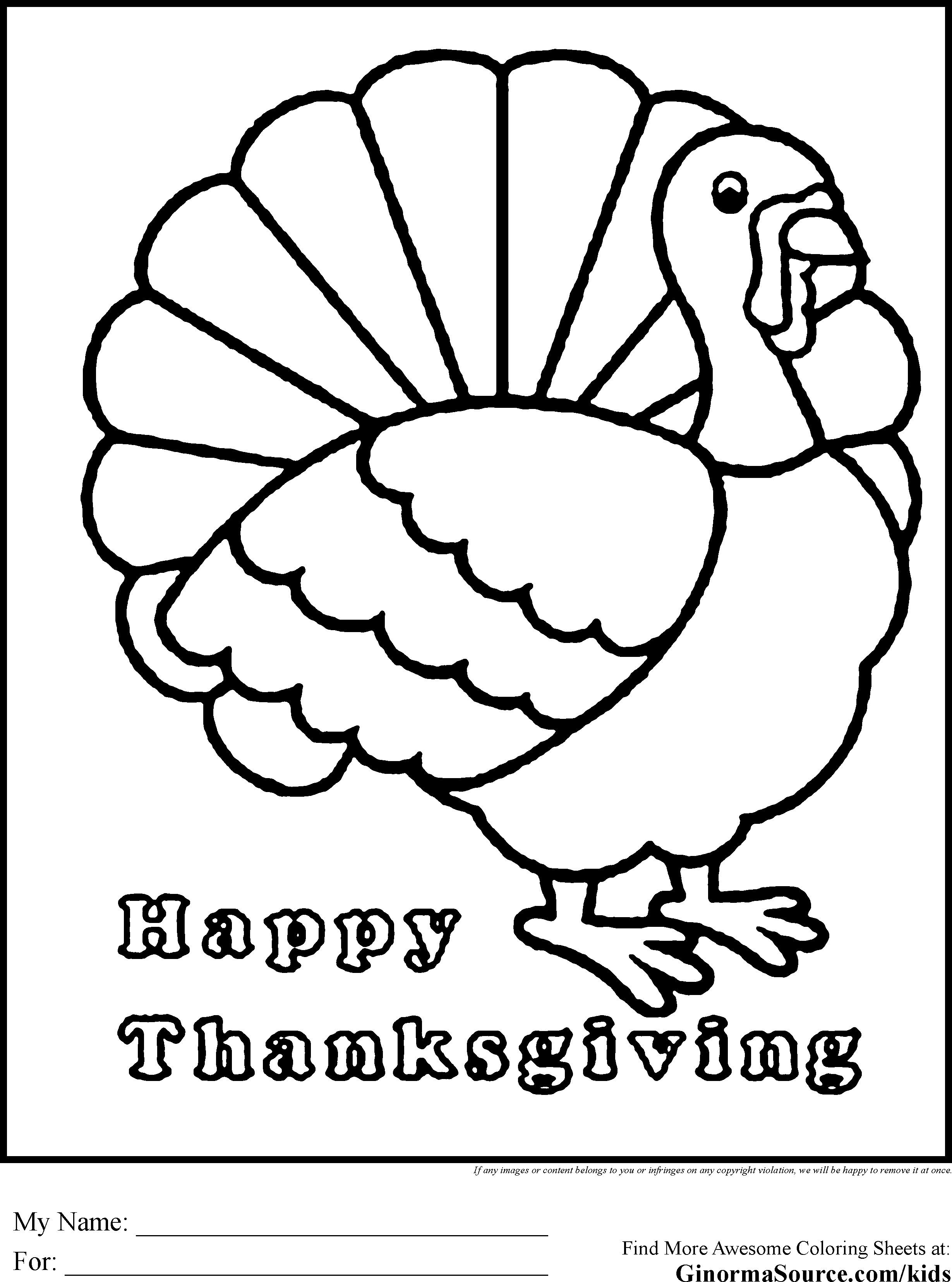 Coloring Page Of A Turkey For Preschool