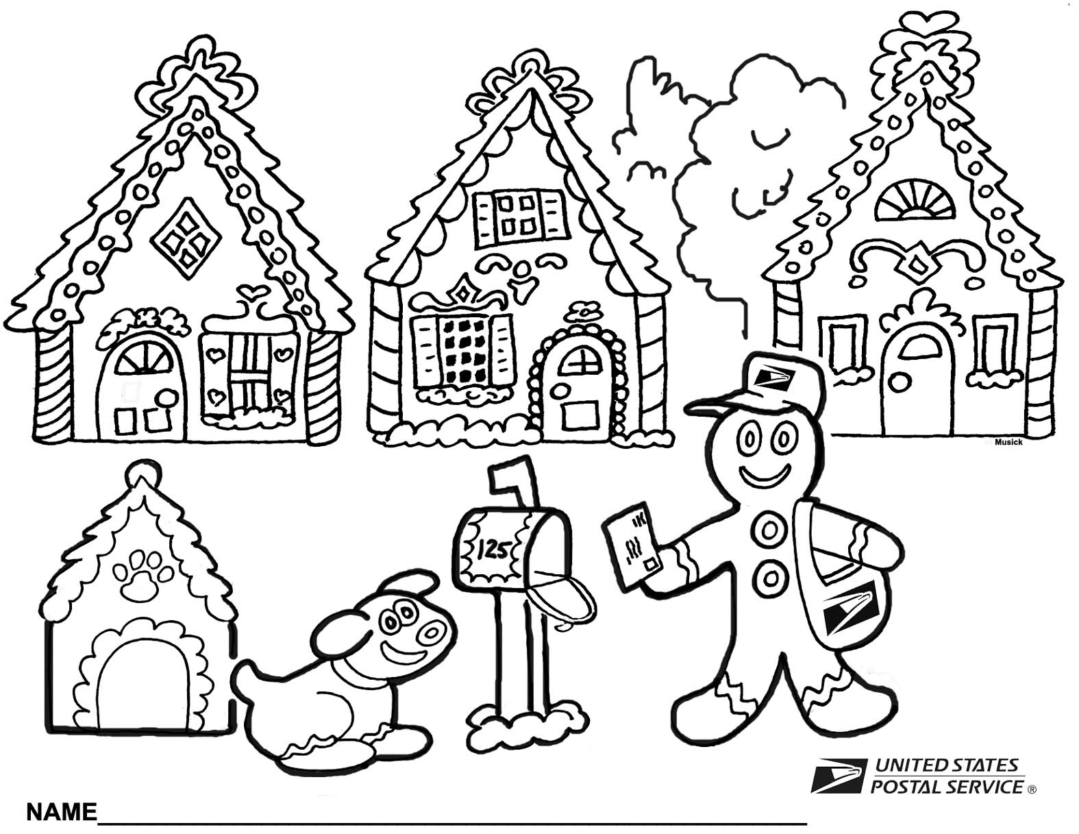 Post Office Coloring Coloring Pages