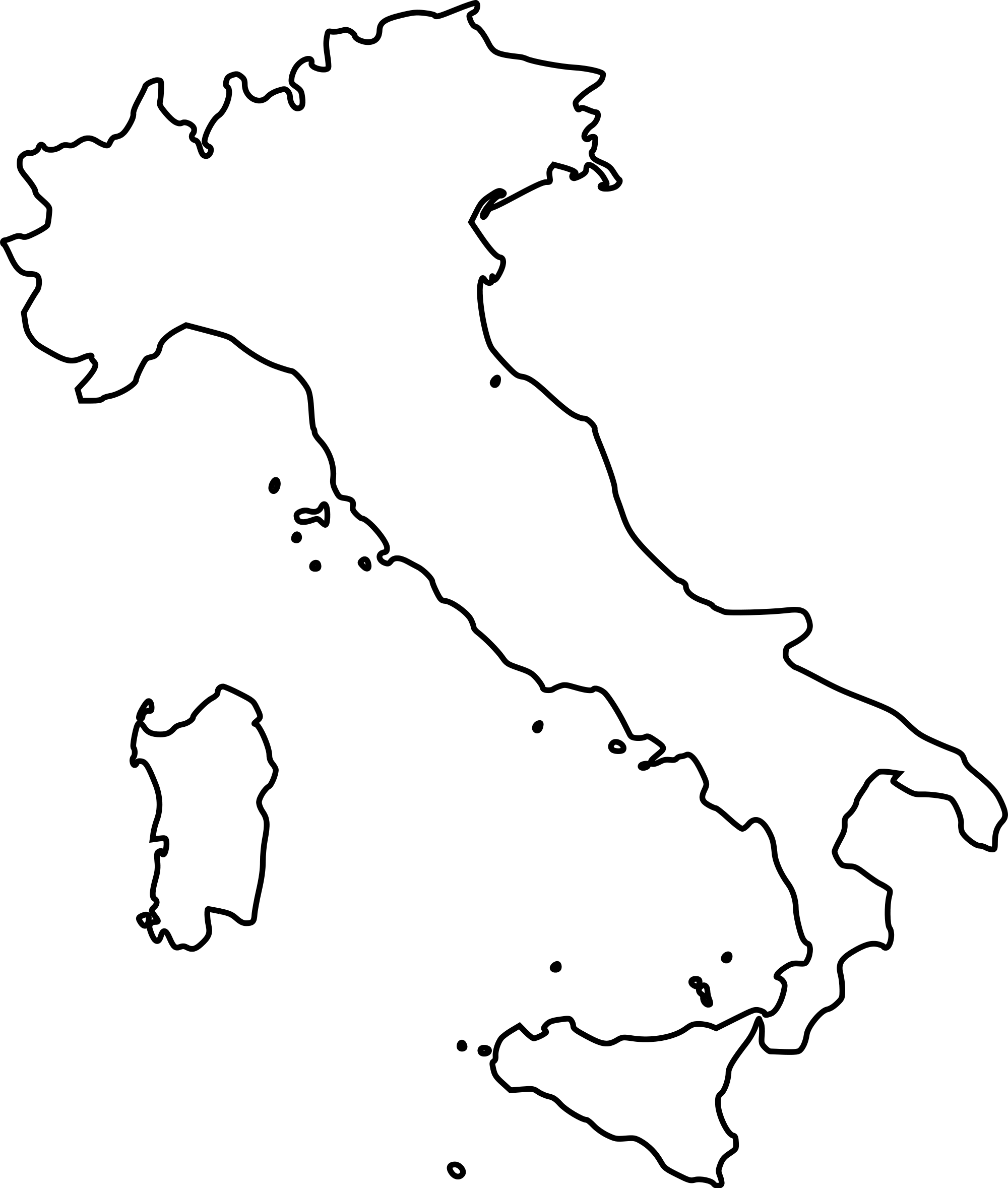 Map Of Italy Coloring Page