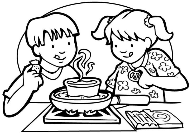 Cooking Class Coloring Pages Kids