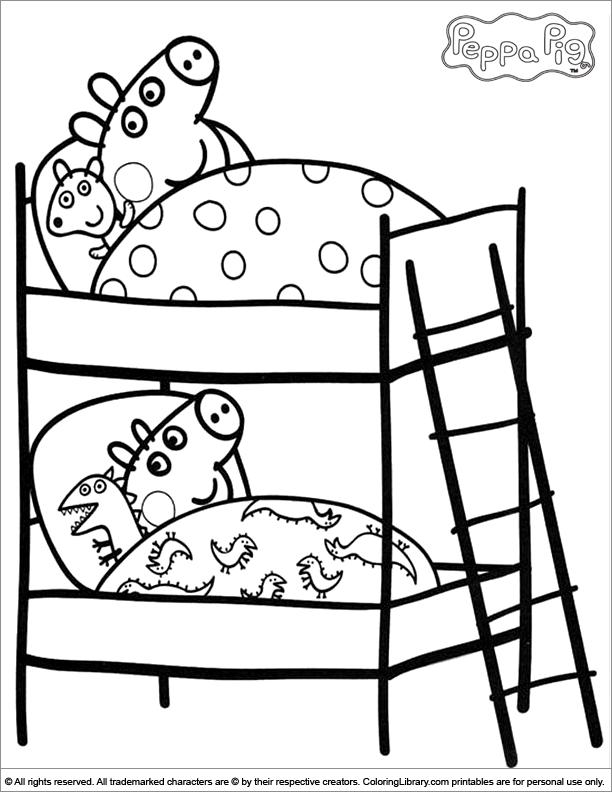 Colorear Peppa Pig durmiendo con george cerdito