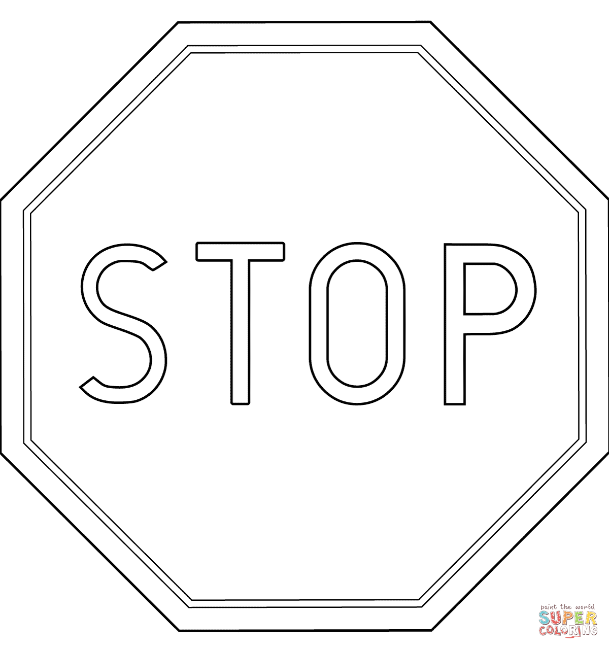 Printable Stop Sign Coloring Page Home Sketch Coloring Page