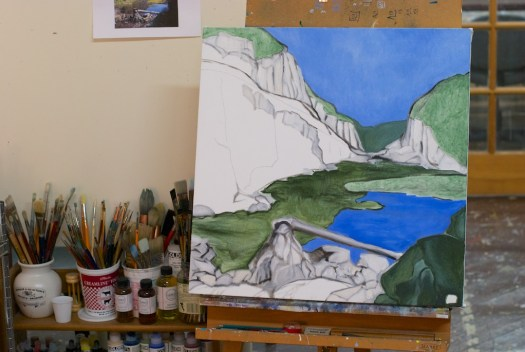 "Paysage planétaire in progress (as of 1/6/2015), oil on canvas, 24x24""."