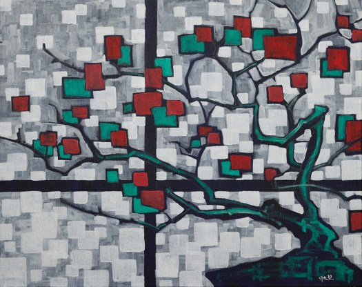 """Bonsai in Bloom"", acrylic on canvas, 24x30"", 2010"