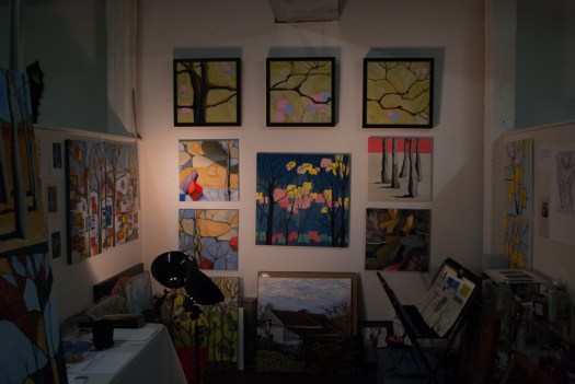 Open studios in 2012: Reach triptych, Manomayakaya #2 and Lifeworlds 1-4.