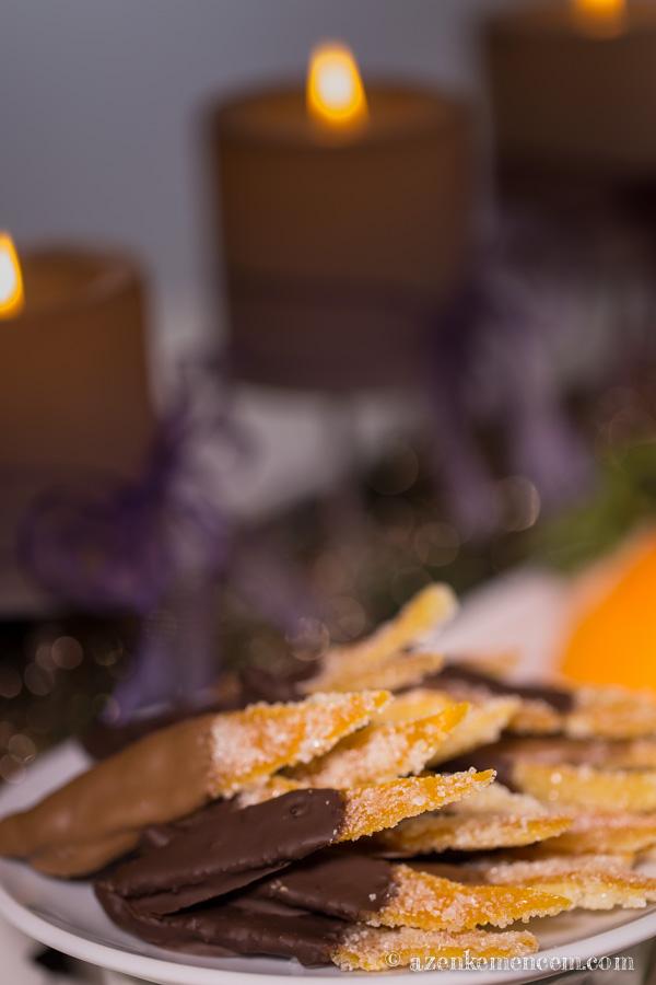 Kandírozott narancshéj csokiba mártva - kezeletlen héjú narancsból készítsük