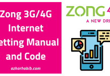 Zong 3G/4G Internet Setting Manual and Code