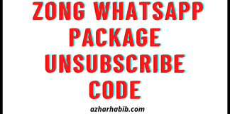 Zong Whatsapp Package Unsubscribe Code