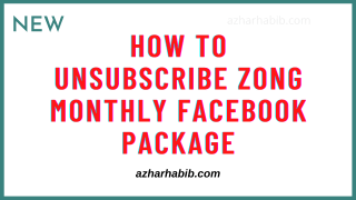 how to unsubscribe zong monthly facebook package